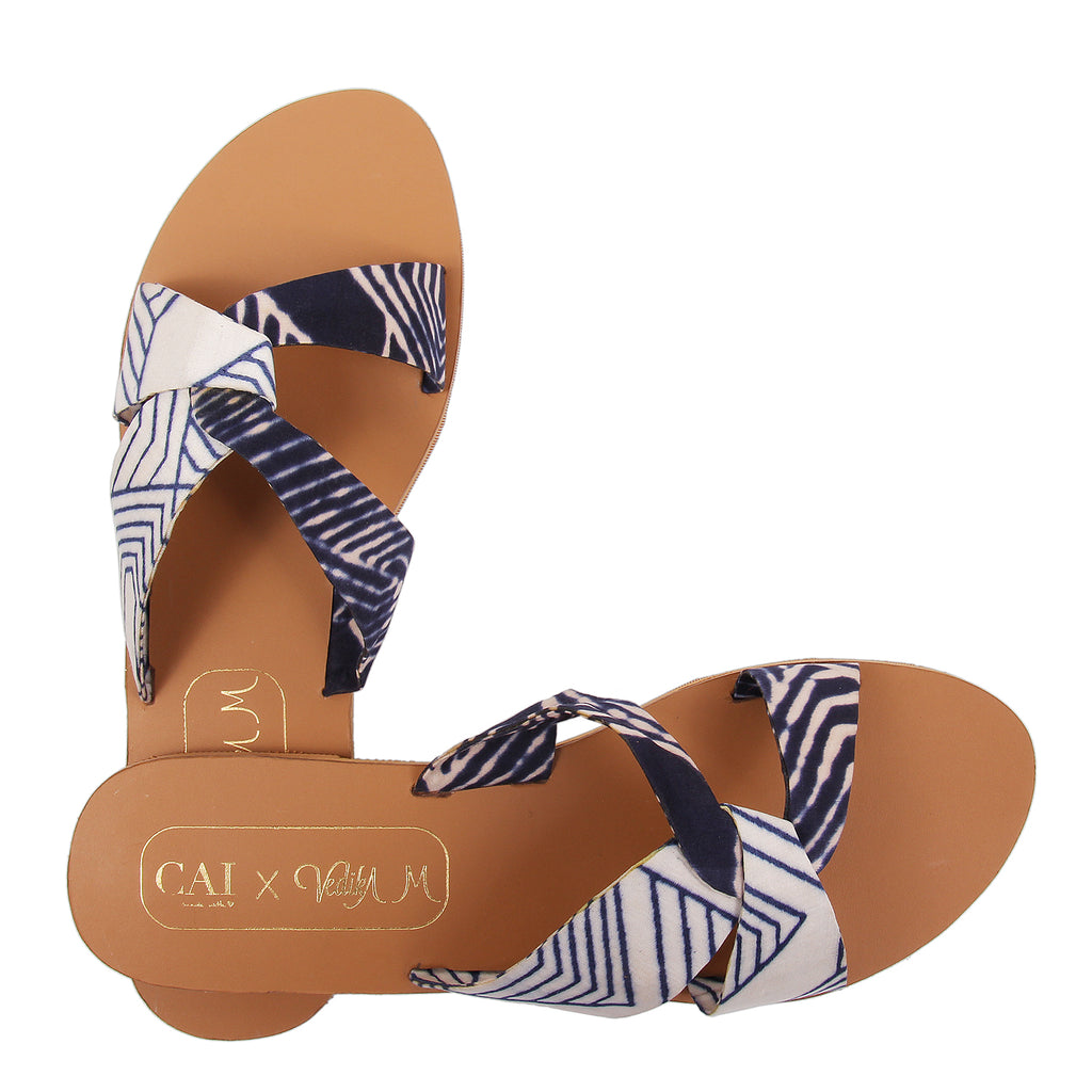 Blue & White Criss Cross Sliders