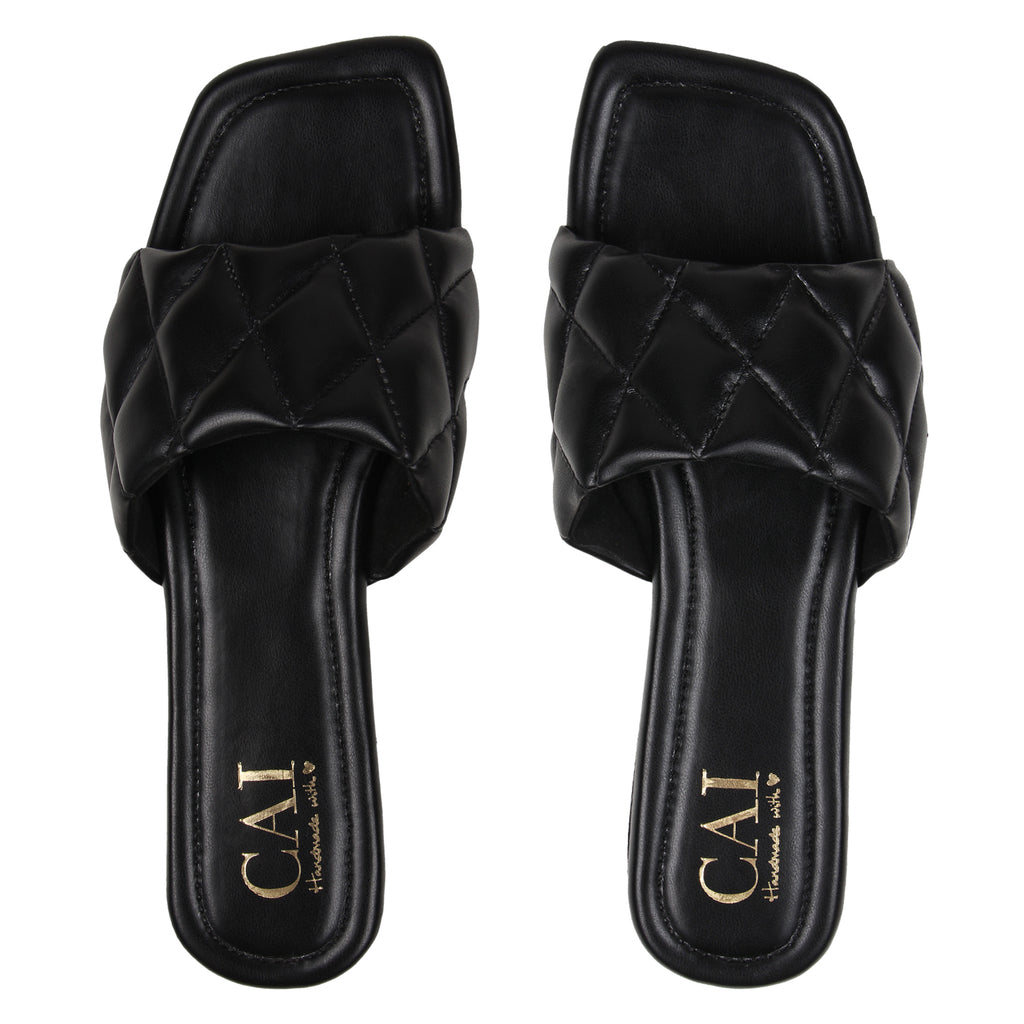 Black Quilted Slides