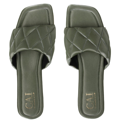 Green Quilted Slides