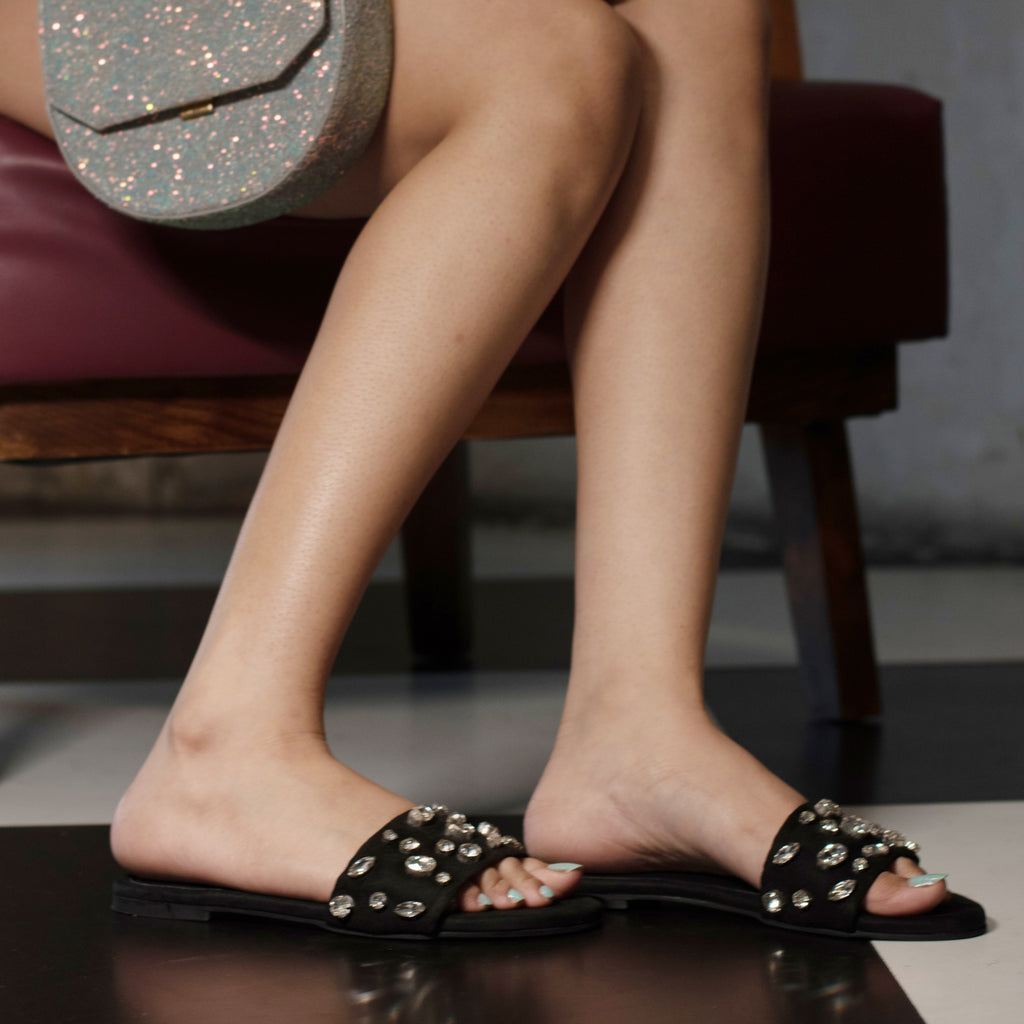 Black Bejewelled Slides