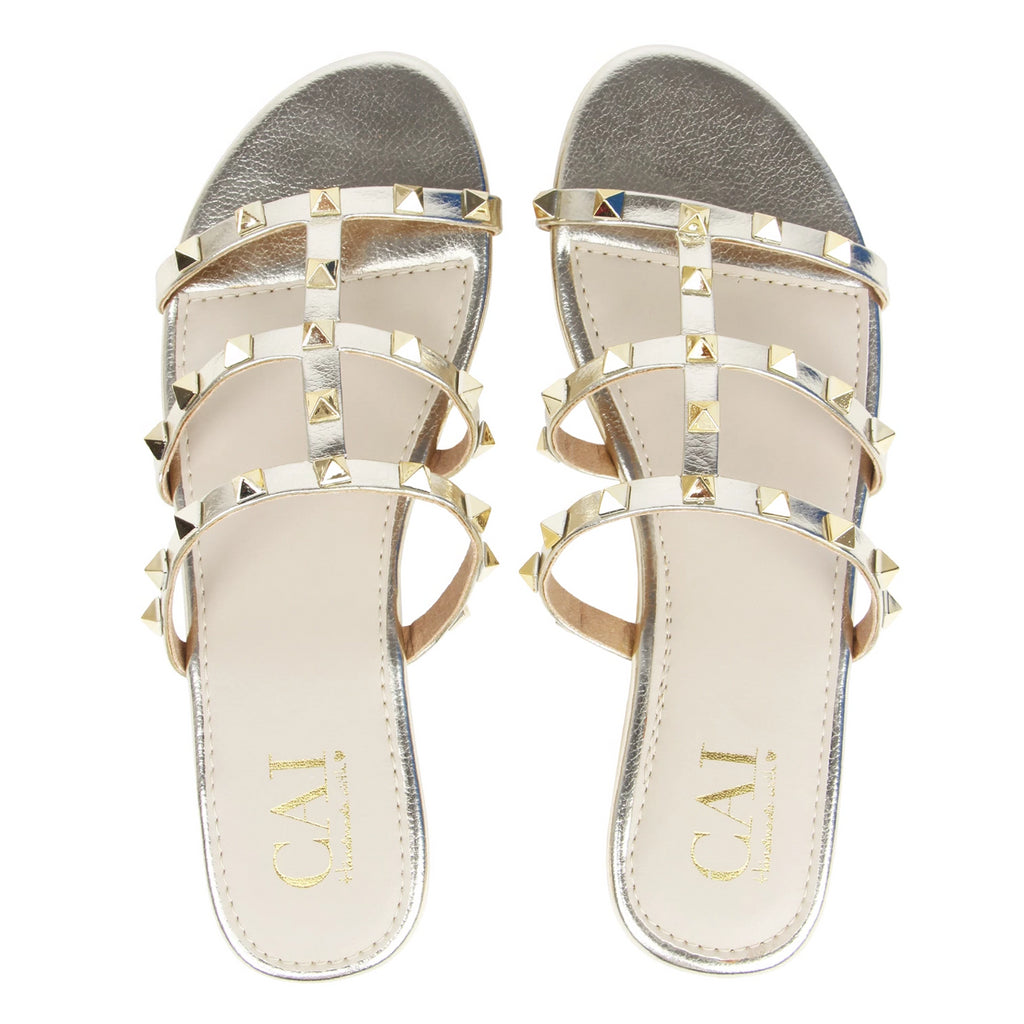Studded Slides Gold