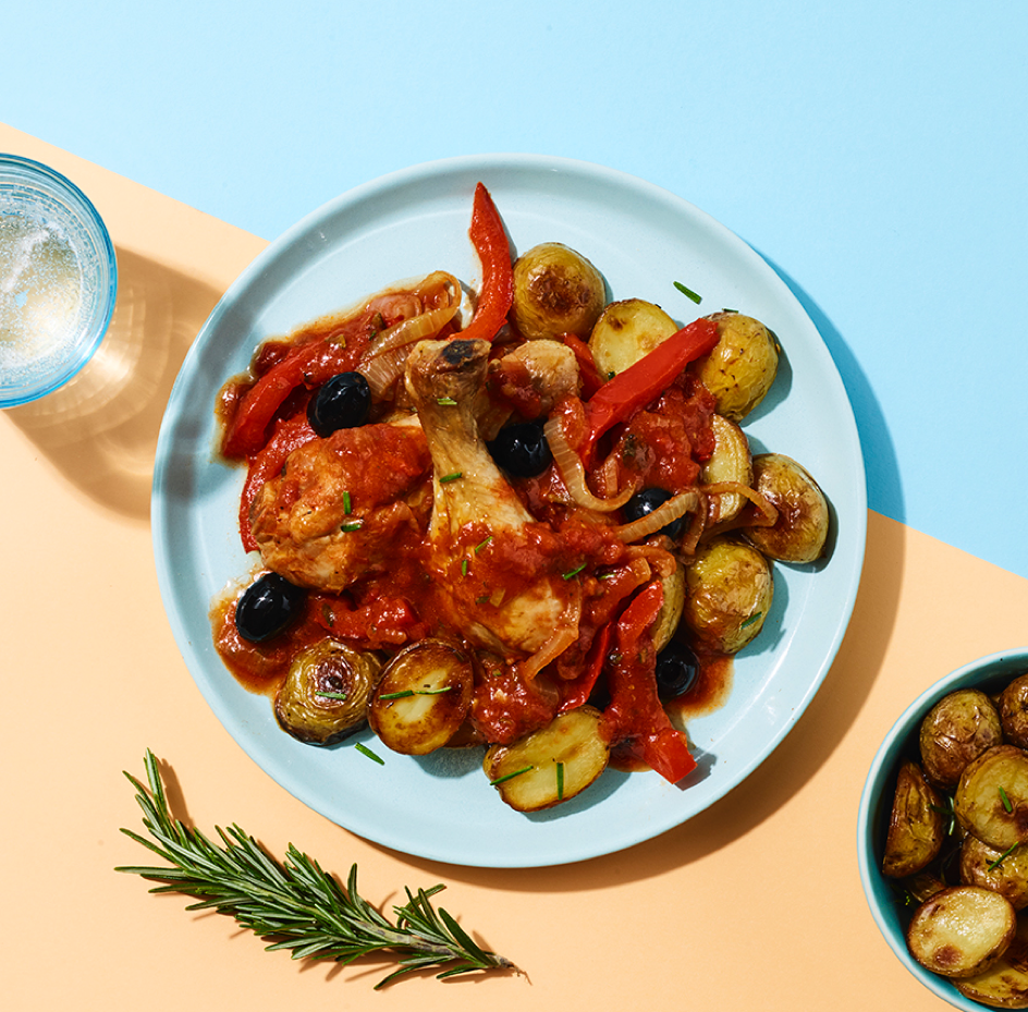 Classic Italian Chicken Cacciatore served with Roasted Baby Potatoes