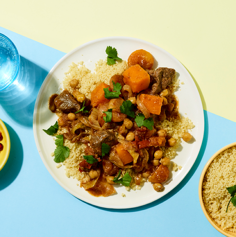 Moroccan Spiced Lamb, Apricot & Chickpea Tagine served with Couscous