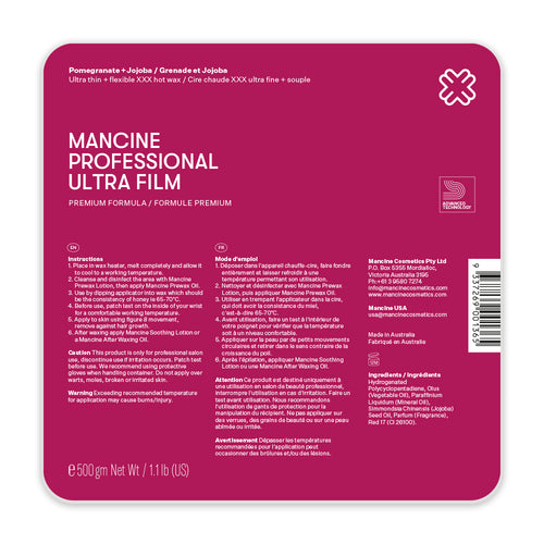 Mancine Hard Wax: Ultra Film Pomegranate & Jojoba (1.1lbs) *
