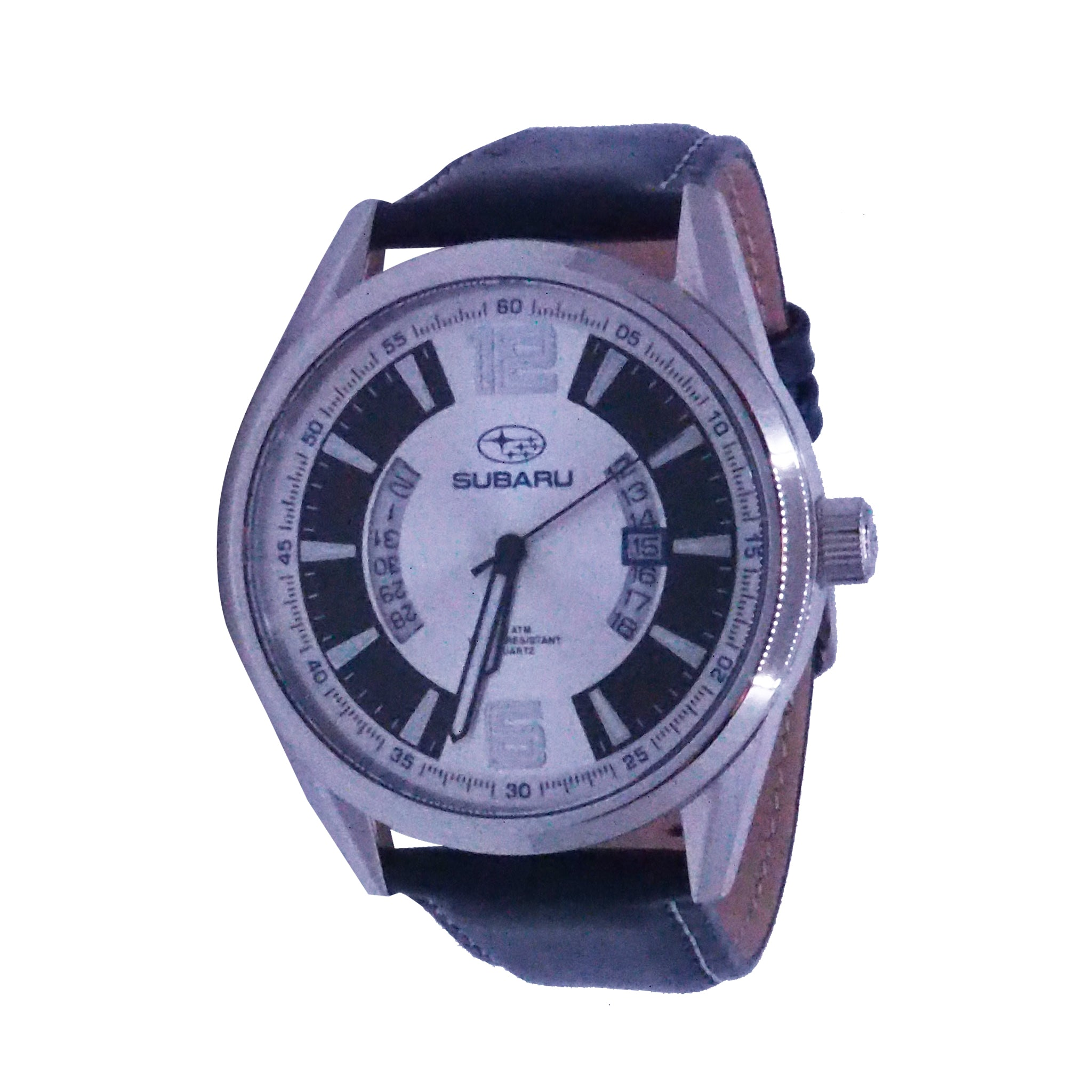Subaru Blue Leather Strap Watch