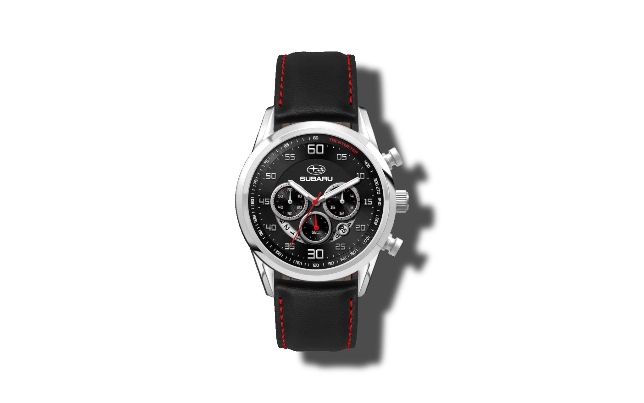 Subaru Black Leather Chronograph Watch