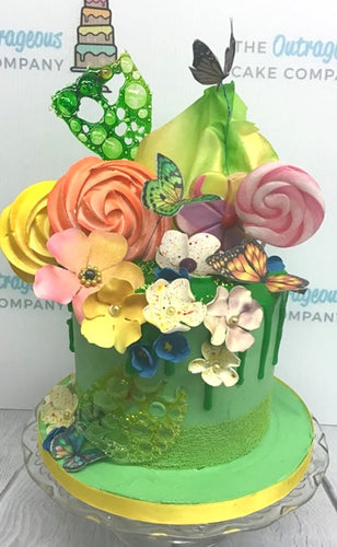 Butterflies & Flowers cake