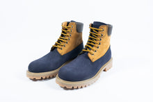 Gallucci stoere bottine in navy nubuck met groen en beige accent
