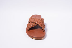 Scandic Gypsy Woven leather Maja sandal tan
