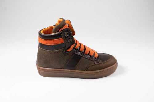 Banaline sneakerbottine kaki met oranje veters