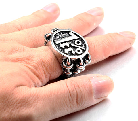 grosse bague 1%er bikers en forme de griffe