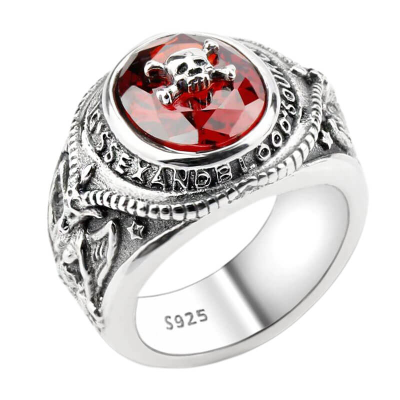 Bague argent crane pirate Jolly Roger