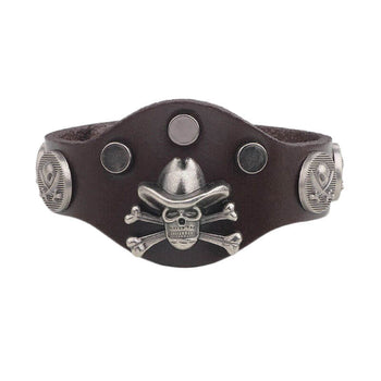 Bracelet Skull Cow-boy Cuir Marron