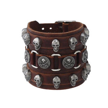 Bracelet de Force Cuir Marron (Skull)