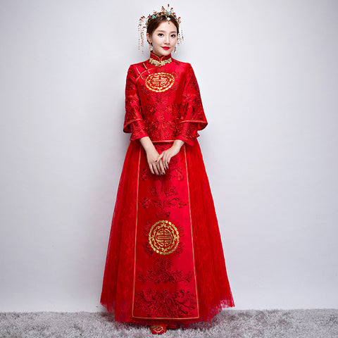 New Bridal Chinese Embroidery Dress, Wedding Classical Dress Cheongsam
