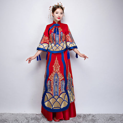 The New Tangzhuang Longfeng Bride Wedding Dress, Show Wo Clothing Embroidery Models