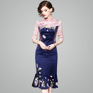 Slim Was Thin Package Hip Skirt 2018 Spring New Embroidery Embroidery Cheongsam Temperament Dress 80185
