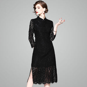 Spring New Ladies Temperament Qipao Dress Seven Sleeves Lace Dress 61877