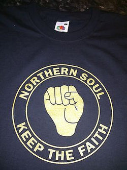 GOLD ON BLACK NORTHERN SOUL COTTON T-SHIRT