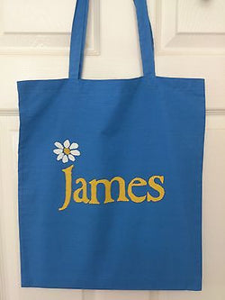 JAMES  -  BLUE COTTON TOTE BAG  (Machine Washable)