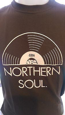 NORTHERN SOUL 45RPM - BROWN 100% COTTON  T-SHIRT