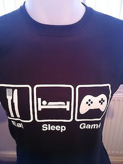 EAT - SLEEP - GAME - COMPUTER GAMERS 100% COTTON T-SHIRT