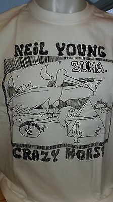 CRAZY HORSE - NEIL YOUNG  - 100% COTTON T-SHIRT - CREW NECK - ROCK CLASSIC