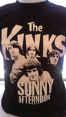 THE KINKS - SUNNY AFTERNOON - BLACK 100% COTTON  T-SHIRT