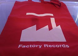 FACTORY RECORDS - RED COTTON TOTE BAG (Machine Washable)