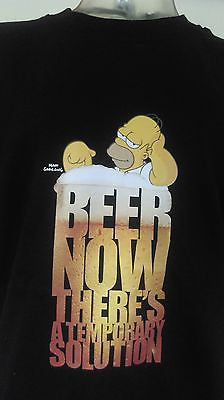 HOMER SIMPSON - BEER NOW THAT'S A TEMPORARY SOLUTION - 100% COTTON T-SHIRT