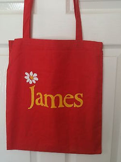 JAMES (RED)  -   100% COTTON TOTE BAG (Machine Washable)