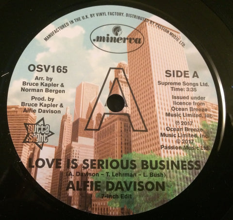ALFIE DAVIDSON - LOVE IS A SERIOUS BUSINESS (OUTTA SIGHT DEMO) Mint Condition
