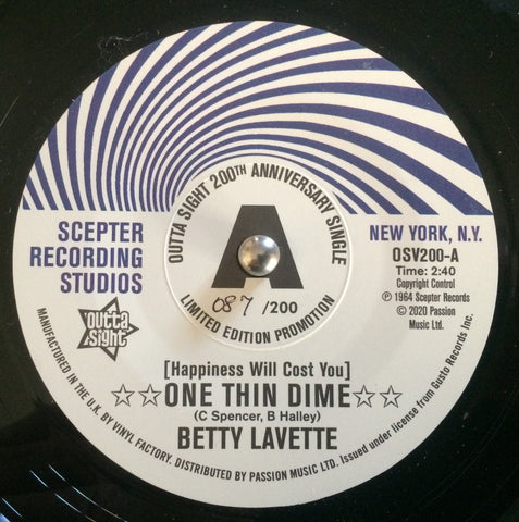 BETTY LAVETTE - ONE THIN DIME (OUTTA SIGHT DEMO 087/200) Mint Condition