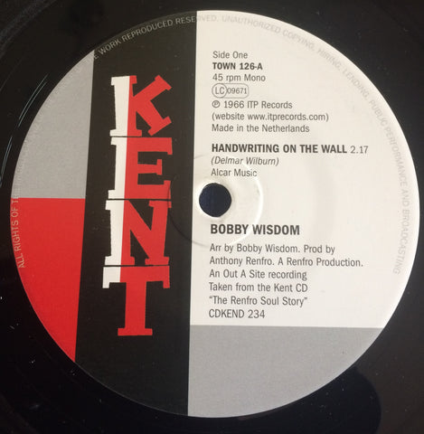 BOBBY WISDOM - HANDWRITING ON THE WALL (KENT TOWN) Mint Condition