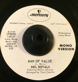 DEL ROYALS - MAN OF VALUE (MERCURY DEMO) Ex Condition