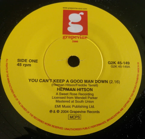HERMAN HITSON - YOU CAN'T KEEP A GOOD MAN DOWN (GRAPEVINE) Mint Condition