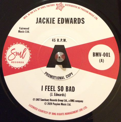 JACKIE EDWARDS - I FEEL SO BAD (OUTTA SIGHT) Mint Condition