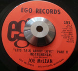 JOE McLEAN - LETS TALK ABOUT LOVE (EGO) Ex Condition
