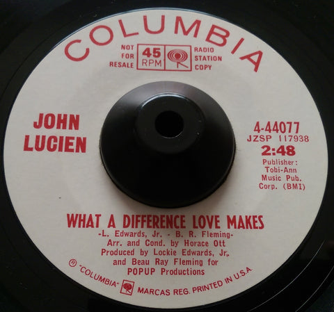 JOHN LUCIEN - WHAT A DIFFERENCE LOVE MAKES (COLUMBIA w/d) Ex Condition