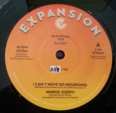 MARGIE JOSEPH - I CAN'T MOVE NO MOUNTAINS (EXPANSION Demo) Mint Condition