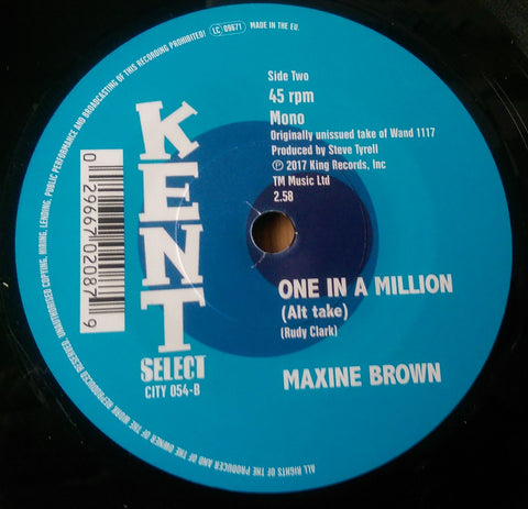 MAXINE BROWN - ONE IN A MILLION b/w BABY CAKES (KENT CITY) Mint Condition