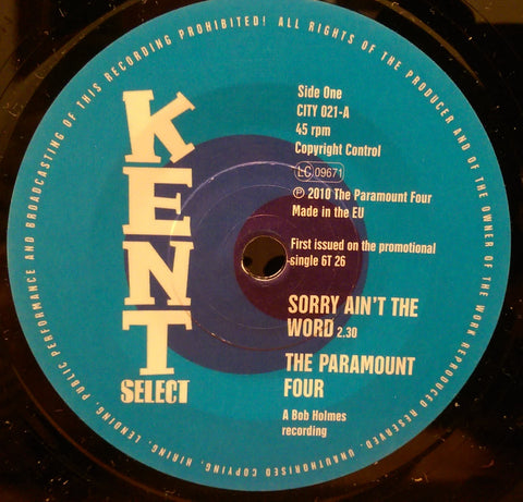 PARAMOUNT FOUR - SORRY AIN'T THE WORD (KENT CITY) Mint Condition