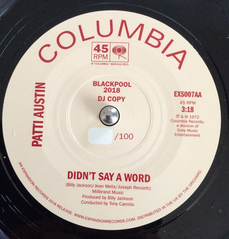 PATTI AUSTIN - DIDN'T SAY A WORD (EXPANSION DEMO) Mint Condition
