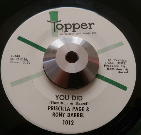PRISCILLA PAGE & RONY DARREL - YOU DID (TOPPER) Ex Condition