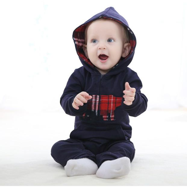 Baby clothes Cotton  Autumn Hooded Crawling Suit Toddler Jumpsuit