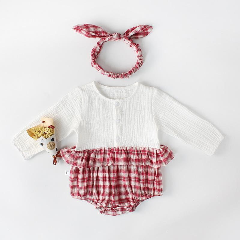 Baby Boys Girls Plaid stitching jumpsuit Outfits