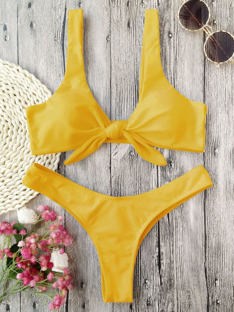 Two Pieces Padded Knotted Thong Bikini Set