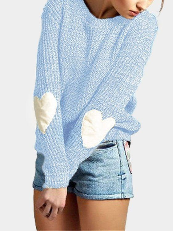 Women Long Sleeve Elbow Love Heart Decoration Round-neck Loose Sweater