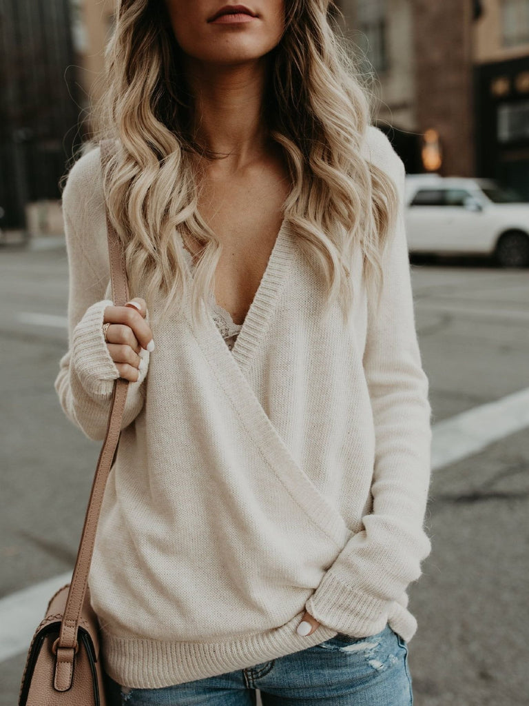 Women Long Sleeve V-neck Loose Sweater