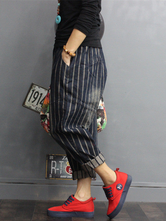 Women Denim Striped Jeans